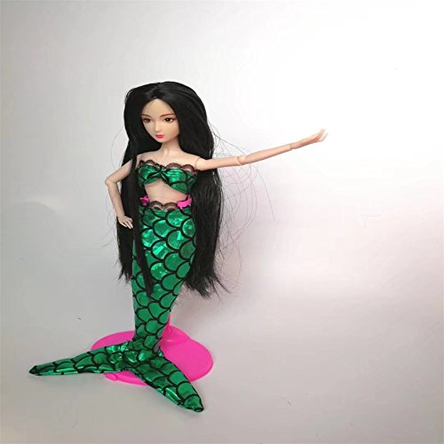 Shrimp On The Barbie Costume (Lanlan Sexy Cosplay Sea Princess Mermaid Clothes Party Costume Dress & Bra For 11.5 inches Barbie Doll Green)