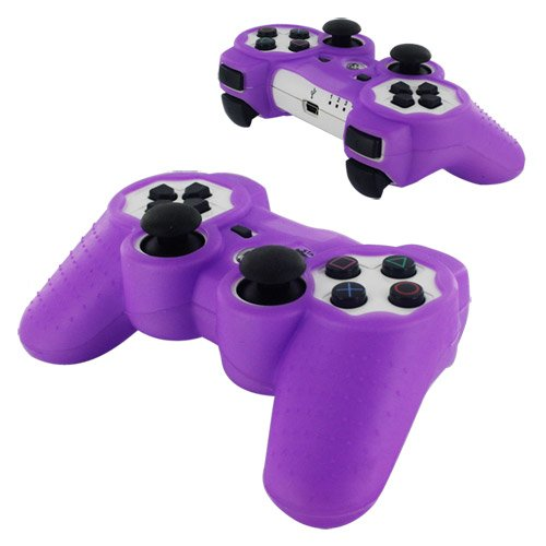 Skque Silicone Soft Case Cover for Sony PlayStation 3 Controller, (Purple Silicone Skin Case Cover)