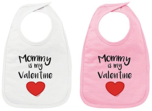 Valentine Infant Little Bib - Valentines Gifts for Baby Girl Mommy is My Valentine Funny Valentines Baby Bib White and Pink 2 Pack
