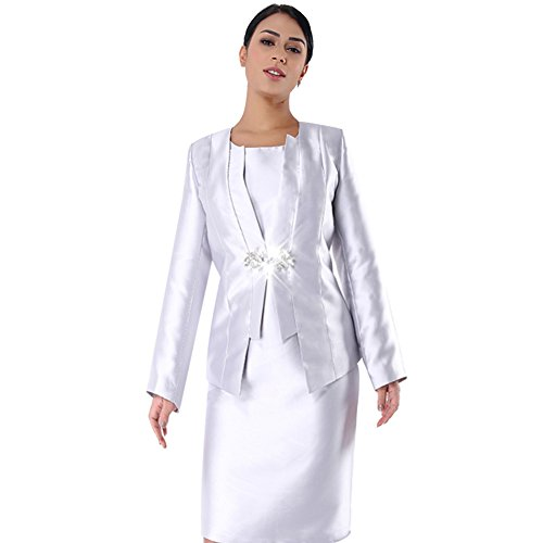 Kueeni Women Church Suits with Hats Church Dress Suit for Ladies Formal Church Clothes Silver by Kueeni