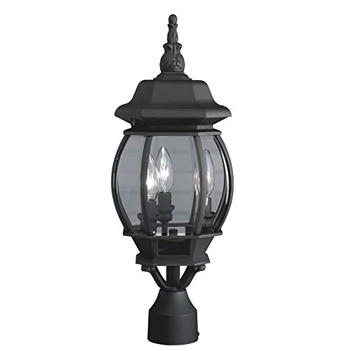 21.34 in Black Post Light Outdoor Lamp Patio Garden Yard Lighting Fixture Lantern