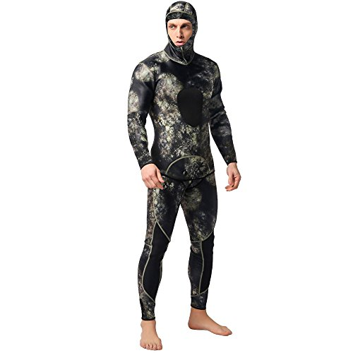 Nataly Osmann Camo Spearfishing Wetsuits Men 3mm Neoprene 2-Pieces Hooded Super...