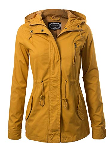 Instar Mode Women's Military Anorak Safari Hoodie Jacket, Ijkw009 Mustard, XX-Large