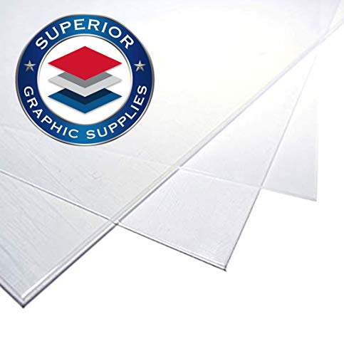 Superior Graphic Supplies Polycarbonate Plastic Sheet (12 Inches x 24 Inches) - 60 Mil Thick - Clear Gloss - 10 Sheets