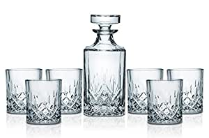Miko Whiskey Decanter With 6 Glasses Made Of Pure Lead Free Crystal Glass, 7-Piece Set (Nairn)
