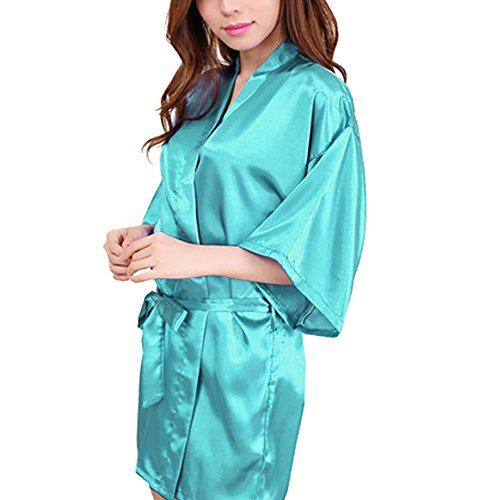 Womens Short Kimono Solid Satin Lounge Robe, Medium, Tiffany Blue