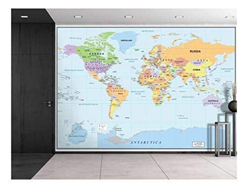 2016 Newest World Map Large Wall Mural Removable Wallpaper