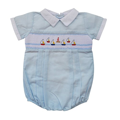 Carriage Boutique Baby Boys Hand Smocked Classic Creeper - Blue Mini Sail Boats, 9M (Sailboat Smocked)