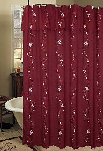 - Creative Linens Daisy Embroidered Floral Fabric Shower Curtain with attached Valance Burgundy Holiday