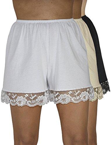 Underworks Pettipants Cotton Knit Culotte Slip Bloomers Split Skirt 4-inch Inseam 3-Pack 2X-Large White-Beige-Black