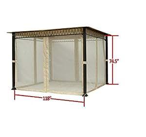 Amazon.com : Universal 10 x 10 Gazebo Mosquito Netting Set ...