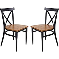 KARMAS PRODUCT Kitchen & Dining Room Chair W/ Slolid Wood Seat & Metal Legs Furniture, Indoor/Outdoor Stackable Bistro Cafe Chairs with Cross Back Style, Set of 2