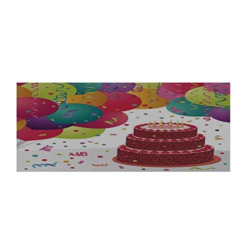 "Birthday Decorations Beautiful Floor Sticker,Strawberry Triplex Cake Candles Ribbons Balloons Newborn Celebration for Indoor Floor,47.2"" L x 23.6"" W"
