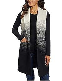 Ladies' Long Vest With Pockets, Medium White/Black