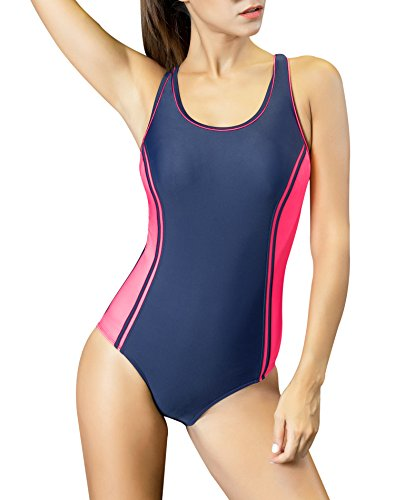 Large One Piece - Uhnice Women's One Piece Swimsuits Racing Training Sports Athletic Swimwear (Large(US8-10), Navy/Pink)