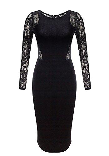 OLRAIN Women's Long Sleeve Velvet Lace Midi Wrap Dress Black Large