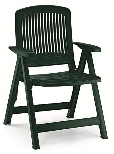 Dos sillones en resina Liz, sillones plegables de exterior, sillón de plástico con reposabrazos