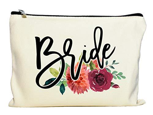 Moonwake Designs Bride Makeup Bag, Bridal Shower Gift, Gift for Bride, Wedding Cosmetic Pouch, Fall Makeup Bag, Autumn Wedding Gift