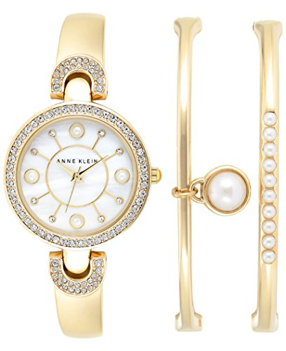 Anne Klein Women's Gold-Tone Bangle Bracelet Watch & Bracelets Set 30mm Exclusive AK/1960MACY