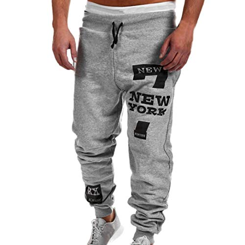 vermers Best Seller! Mens Leisure Pants - Mens Fashion Trousers Casual Letter Printed Sweatpants(3XL, Gray)