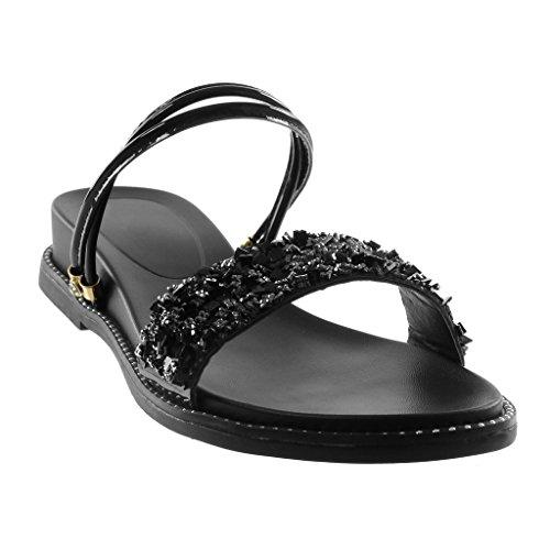 Shiny Schuhe On Strass cm Angkorly Slip Sandalen Schwarz 3 Damenmode Riemen Multi Keil YB5Hg