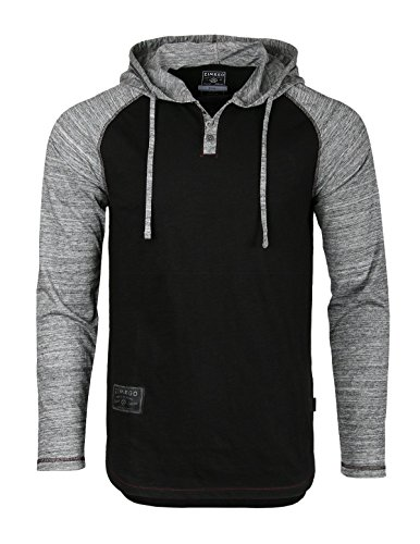 ZIMEGO Mens Contrast Long Sleeve Round Bottom Raglan Hoodie Henley T-Shirts Black Heather