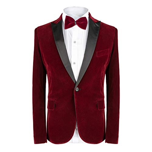 MAGE MALE Men's 2-Piece Suit Velvet Blazer Tuxedo Slim Fit One Button Stylish Dinner Jacket & Pants & Bow Tie