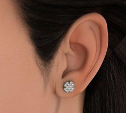 Or blanc 14K 0.656CT TW Round-cut-diamond (IJ | SI) Boucles d'oreille à tige