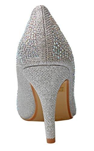 Titan Mall Delicatezza Esco-97 Womens Punta A Punta Bling Wedding Party Dress Pompe Tacco Alto (8 B (m) Us, Sil)