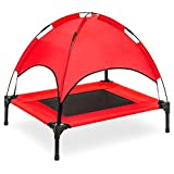 Best Choice Products 30in Raised Mesh Cot Cooling Dog Bed w/Removable Canopy Tent, Travel Bag – Red Review