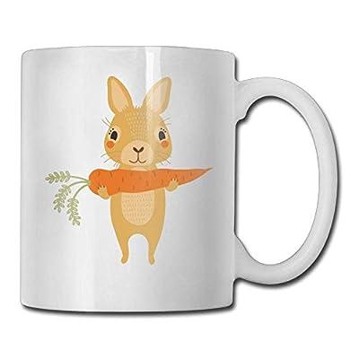 AUUOCC Coffee Mugs Novelty Birthday Rabbit Eats Radish Ceramic Tea Cup nice