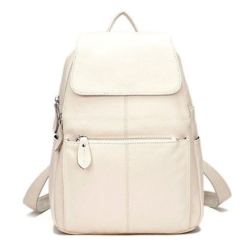 15 Colors Real Soft Leather Women Backpack Fashion Ladies Travel Bag Preppy Style Schoolbags For Girls (Beige)