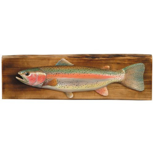 Rainbow Trout Wood Cabin Wall Hanging - Rustic Decor