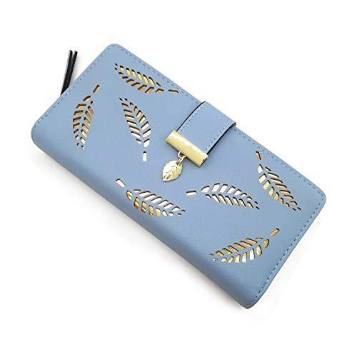 Women's Long Purse Leather Medium Wallet Leaf Bifold Card Coin Holder Small Purses Buckle Zipper Clutch (Blue)-by Vodiu