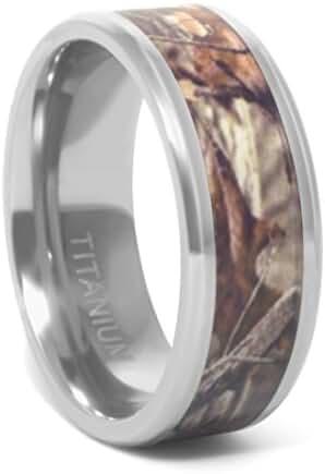 Titanium Camouflage Ring - Forest & Oak Camo Leaf