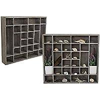 setzkasten de madera–Figuras Coleccionables Madera Estantería Vitrina–Figuras Coleccionables 24compartimentos Rega