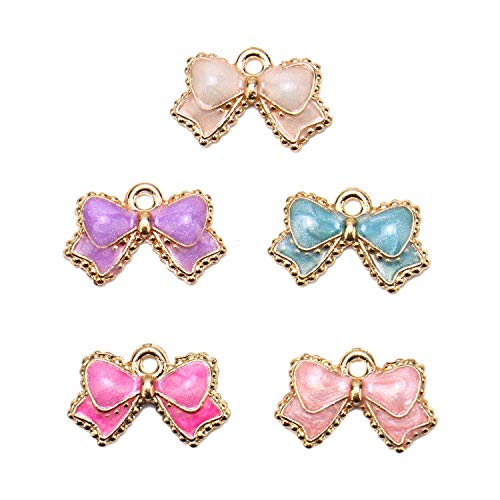 JETEHO 50 Pack Enamel Bow Tie Bowknot Charms Pendant Bulk for Jewelry Making