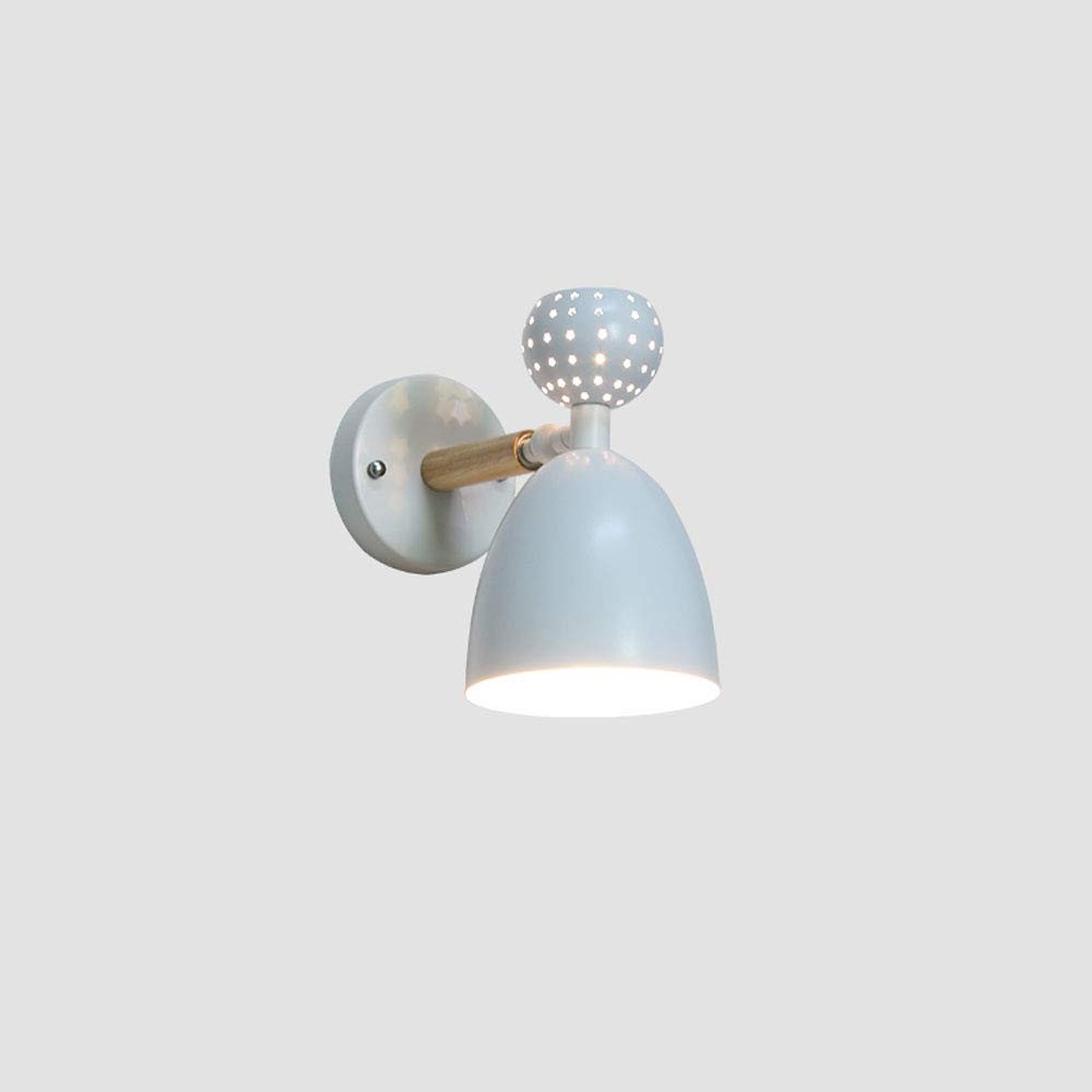 Nordic massivholz wohnzimmer wandleuchte moderne minimalistische macaron schlafzimmer wandleuchte kreative treppenhaus gang gang nachttischlampe (Farbe   Weiß)