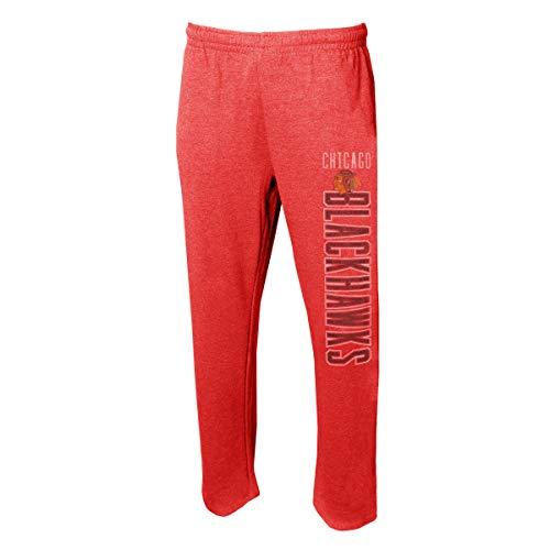 (Concepts Sport Men's NHL -Squeeze Play- Retro Sleepwear Pajama Pants-Heathered-Chicago Blackhawks-Large)