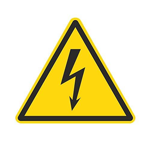Warnzeichen W012 - Warnung vor elektrischer Spannung - Aufkleber aus Folie - 100 mm - 250 Stück