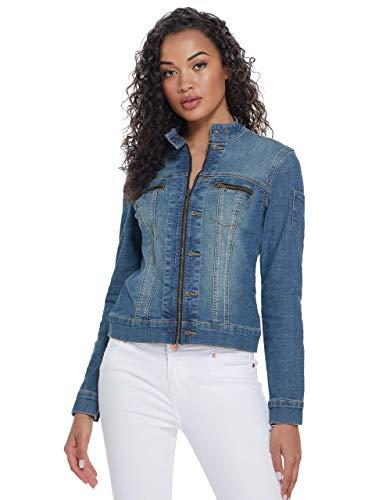 GUESS Factory Peyton Zip-Front Denim Jacket