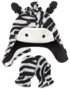 Infant Toddler Boys Girls Fleece Zebra Trapper Hat Mittens Set