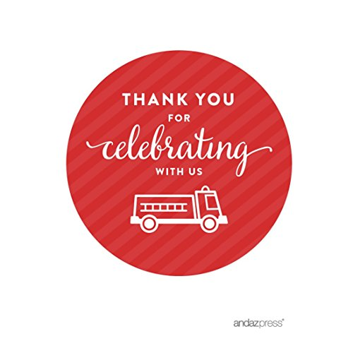 Fire Gift (Andaz Press Birthday Round Circle Labels Stickers, Thank You for Celebrating With Us, Firetruck, 40-Pack, For Gifts and Party)