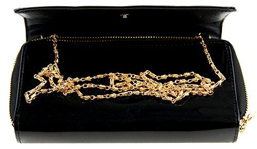 M99funda Wallet Clutch (1191) Negro Oro, aspecto de piel, flores con cera halbkugeln extraíbles, Oro Cadena, monedero, piel, cartera, bolso, bandolera