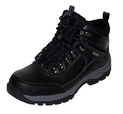 Khombu Mens Summit Leather Hiker Boots (Black, 9)