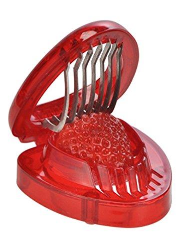 Land-Haus-Shop® Erdbeerschneider Kunststoff mit Edelstahklingen, Erdbeer Obst Scheiben Schneider