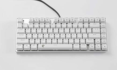 Z-88 Small Mechanical Keyboard, LED Backlit Aluminum Top Panel Blue Switch 81 Keys for Gamer Typist, Tactile and Clicky, US-Layout Gaming Keyboard, White