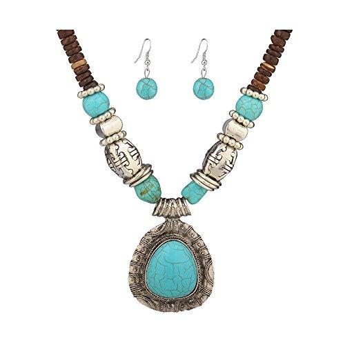 MosBug Tibet Silver Blue Turquoise Stone Pendants Wooden Beaded Necklace Earrings Set
