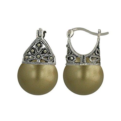 Sterling Silver Hoop Earring Marcasite Filigree Faux pearl ()