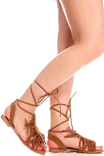 Lolli Couture Per Sempre Link Open Toe Multi Strap Design Posteriore Cerniera Casual Alto Sandali Gladiatore Tan F77